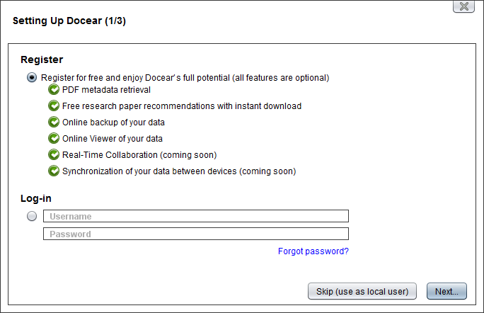 Docear's new setup dialog