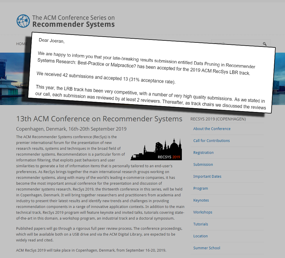 ACM Recommender Systems Conference 2019