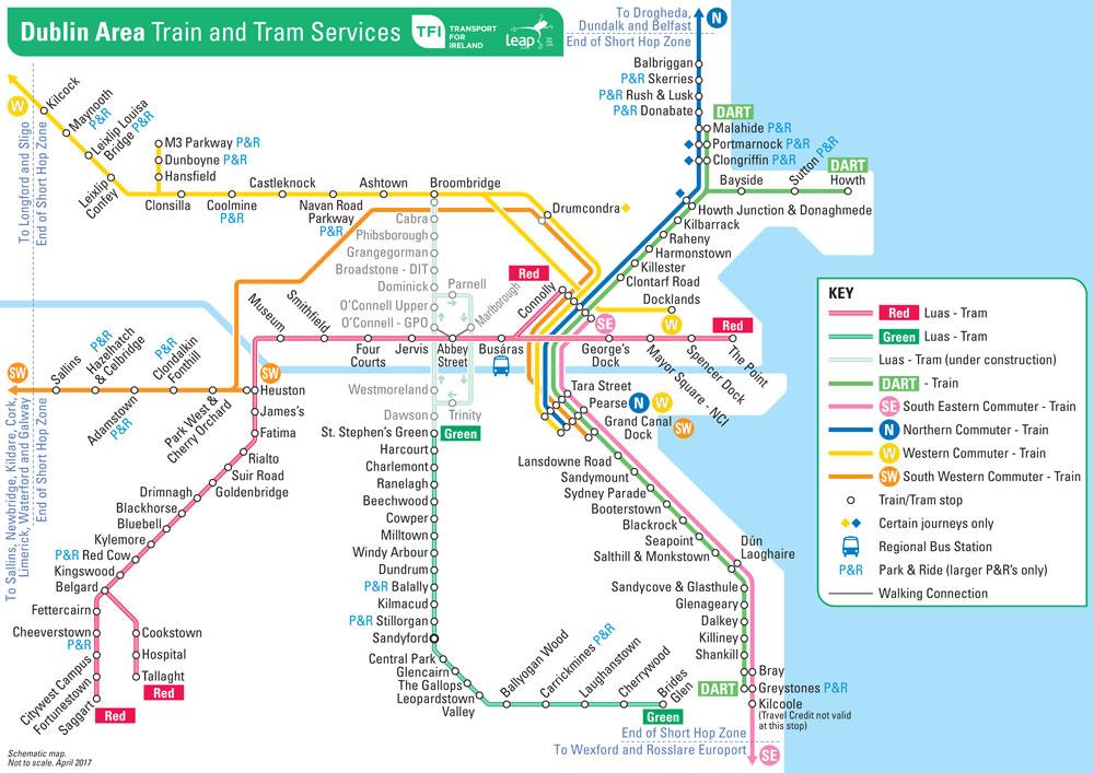 Dublin Area Train and Tram public transport dart luas