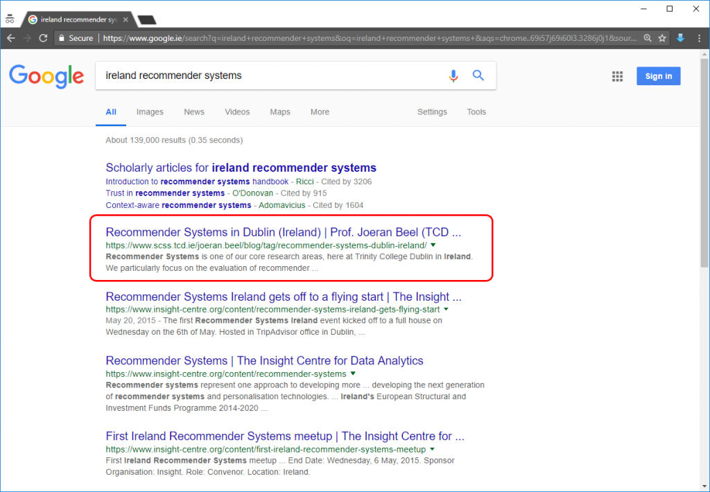 'ireland recommender systems' Google results