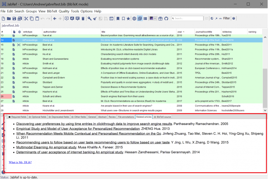 Recommendations highlighted in Jabref (top) and for Sowiport (bottom). Users of Jabref choose to see recommendations by clicking the 'Related Articles' tab. Recommendations are always shown to Sowiport users on each item's detail page.