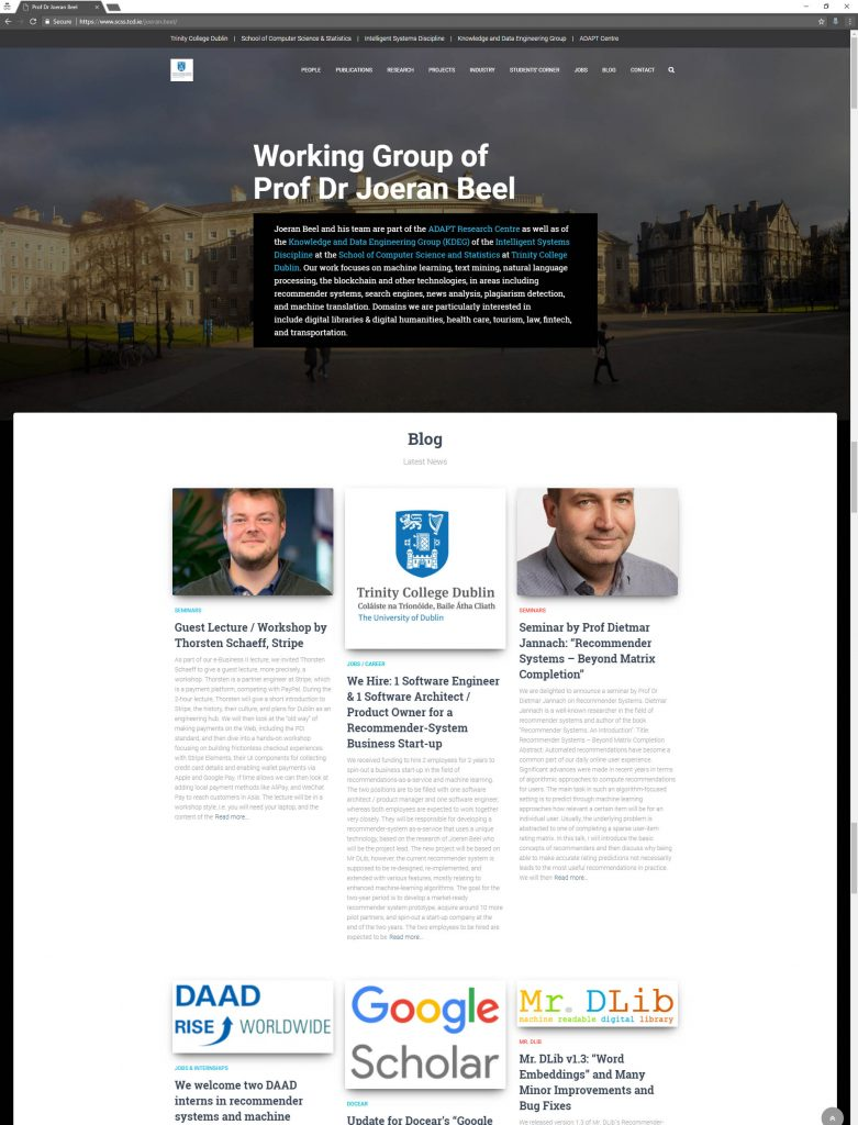Homepage of the Working Group of Prof Dr Joeran Beel, TCD Dublin, Ireland