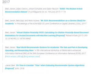 Recommender Systems Publication List (Dublin)