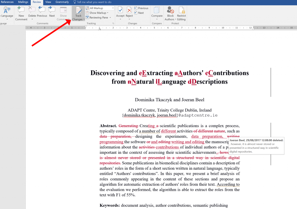 microsoft word writing academic documents vs latex -- track changes - 01 others changes machine learning research dublin ireland recommender systems