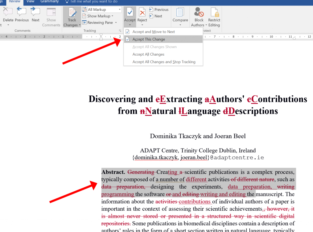 microsoft word writing academic documents vs latex -- track changes - 02 keep changes machine learning research dublin ireland recommender systems