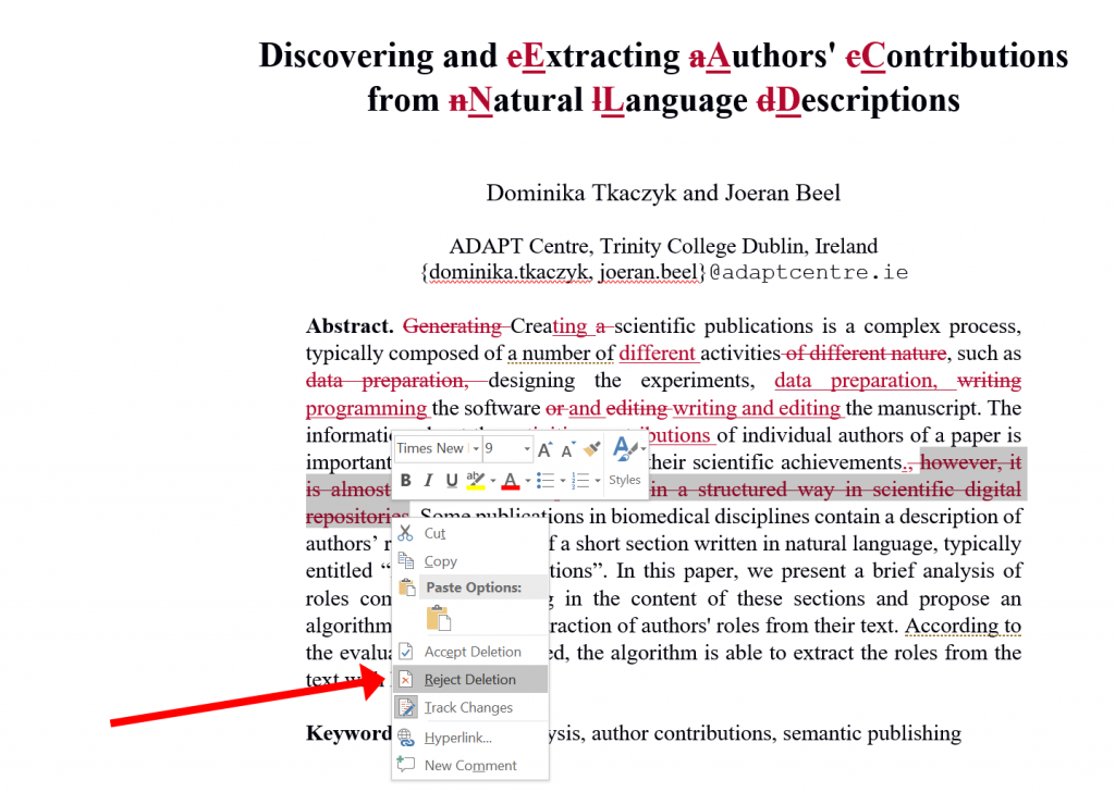 microsoft word writing academic documents vs latex -- track changes - 03 reject changes machine learning research dublin ireland recommender systems