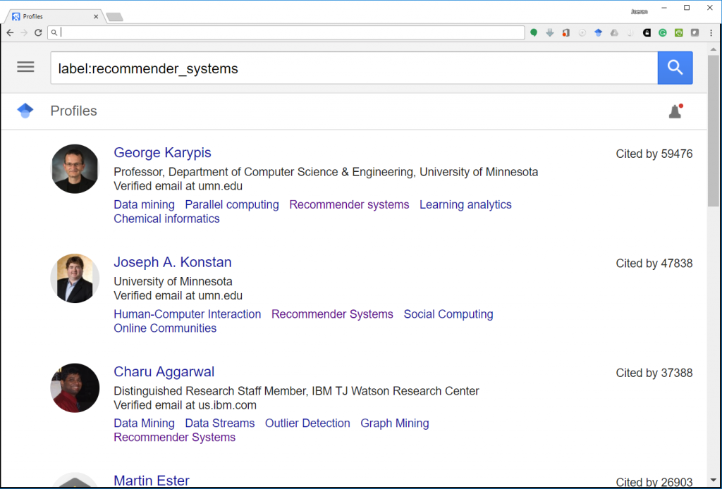 Most-Cited Recommender-Systems Researcher (Google Scholar)