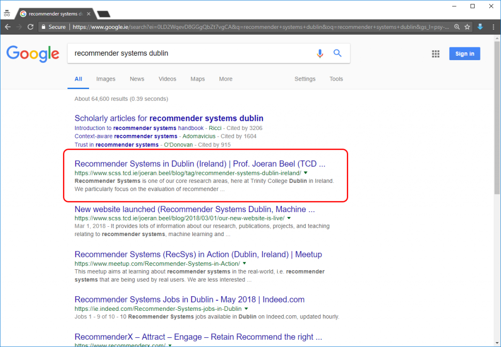 'recommender systems dublin' Google results