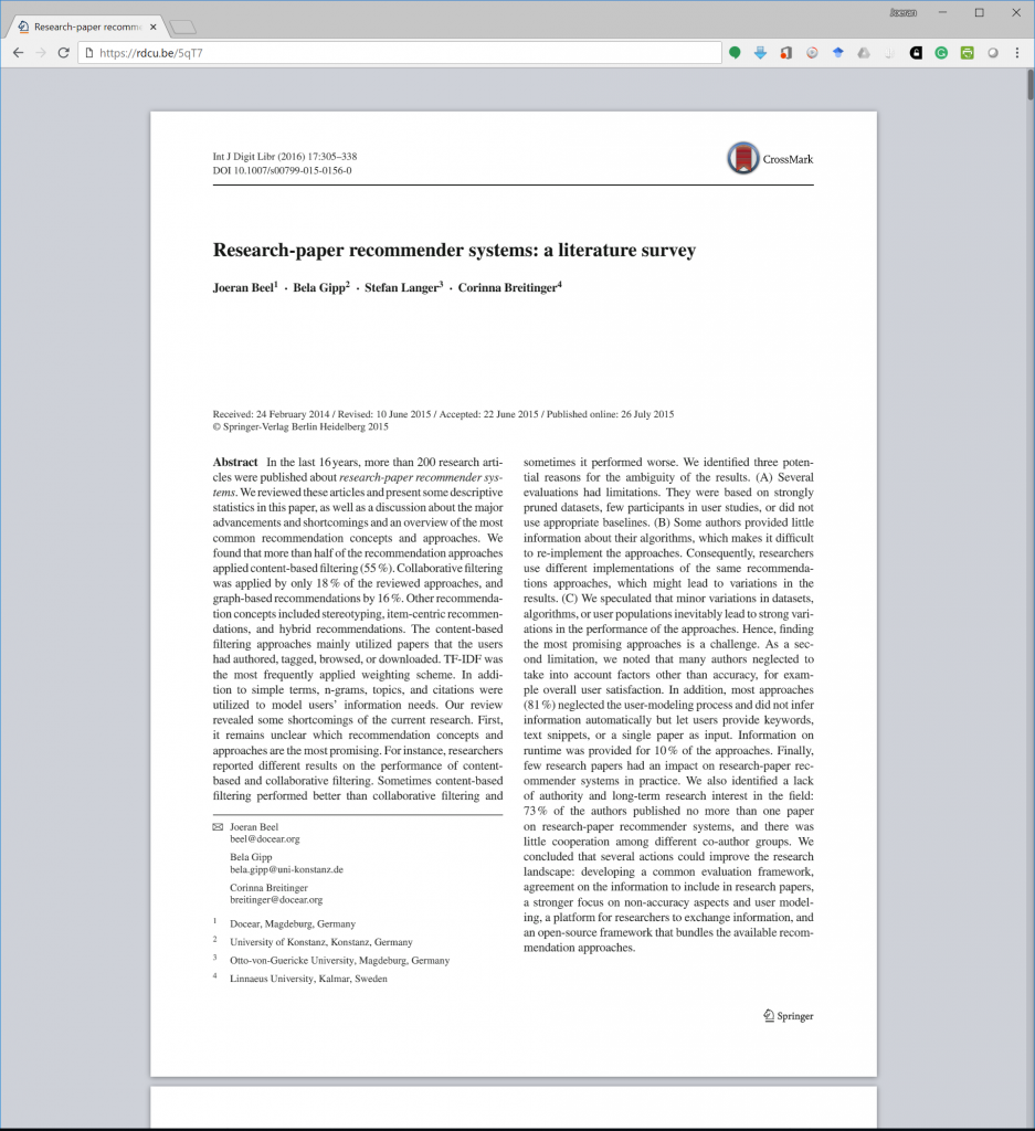 Research-Paper Recommender Systems: A Literature Survey