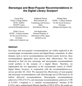 Recommender Systems Dublin