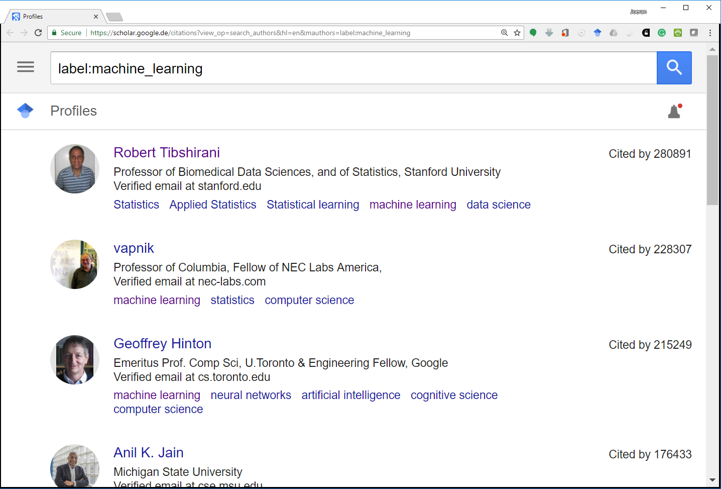 Most-Cited Machine-Learning Researchers on Google Scholar