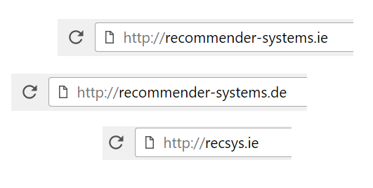 Our Recommender-Systems Domains (recommender-systems.ie, recommender-systems.de, recsys.ie)