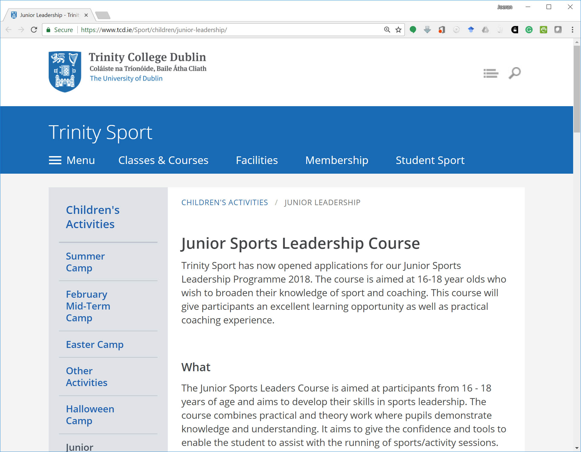 TCD Dublin Junior Sports Leadership (Prof Beel, Machine Learning and Recommender Systems Group)