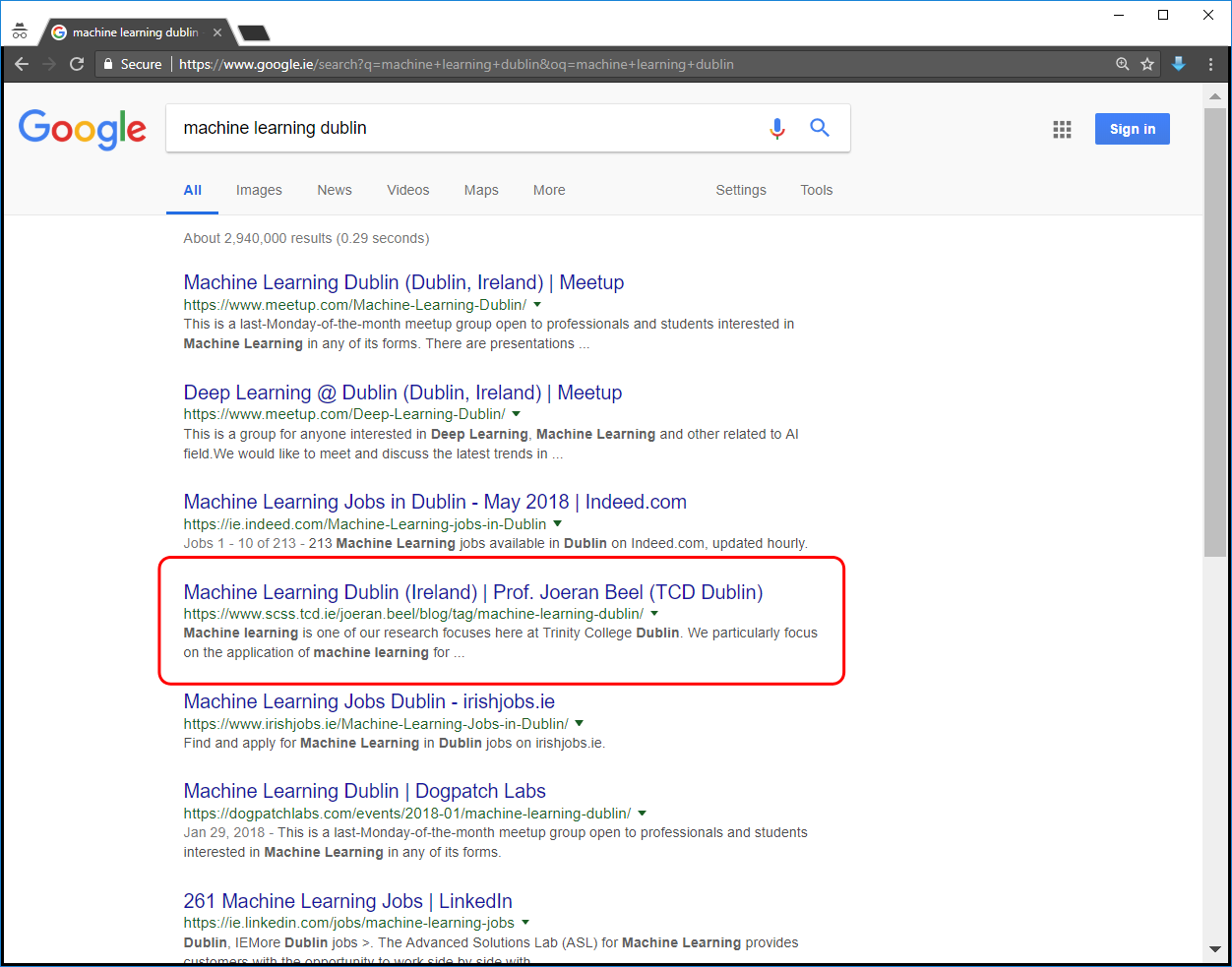 'Machine Learning Dublin' Search Results on Google