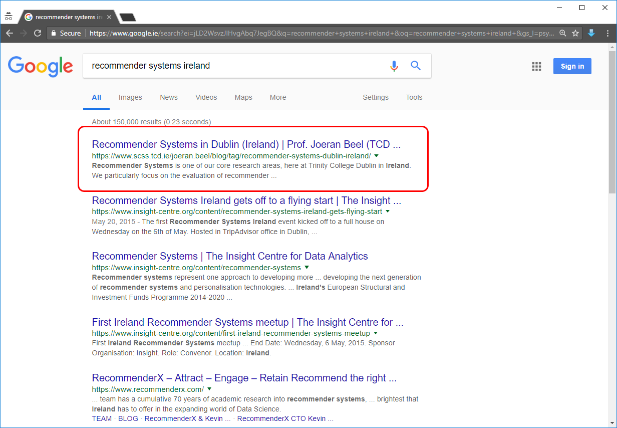 'recommender systems ireland' Google results