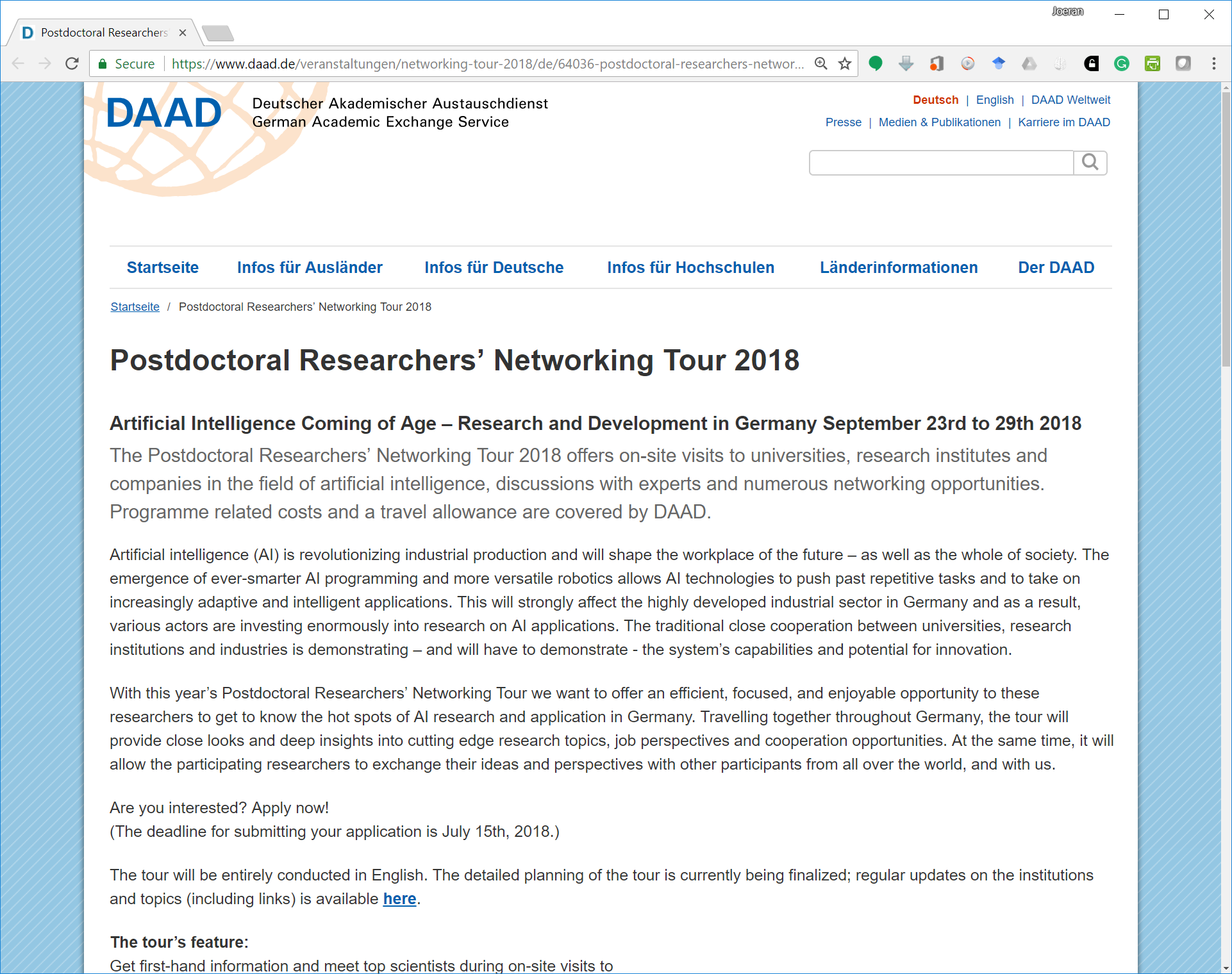 DAAD Artificial Intelligence / Machine Learning Tour Through Germany 2018