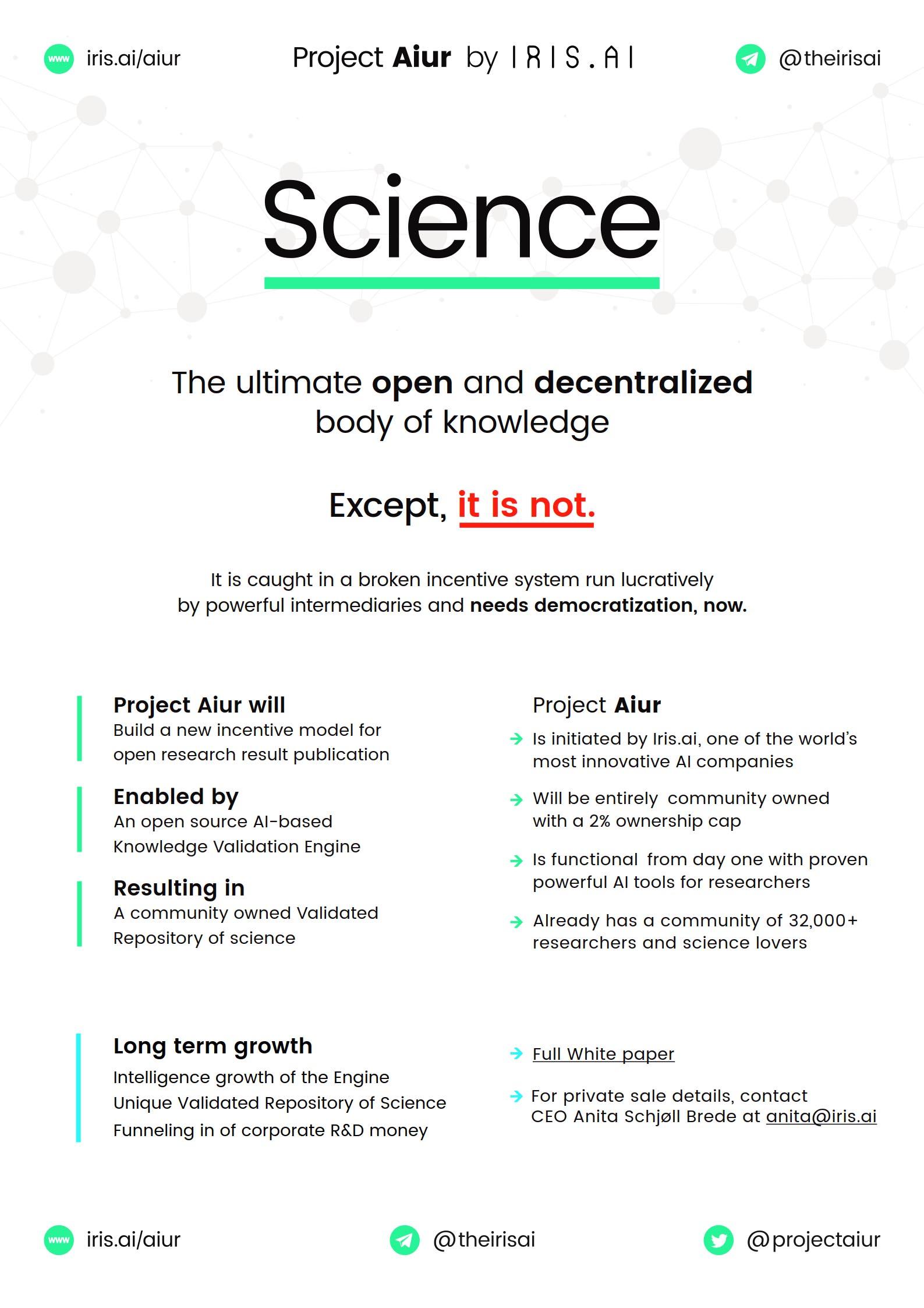 Iris.ai & Project AIUR: Open Science, Blockchain, Artificial Intelligence
