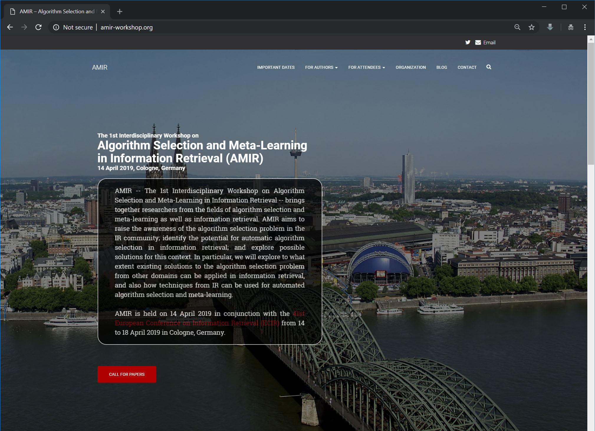 Screenshot of the Homepage of the 1st Interdisciplinary Workshop on Algorithm Selection and Meta-Learning in Information Retrieval (AMIR)