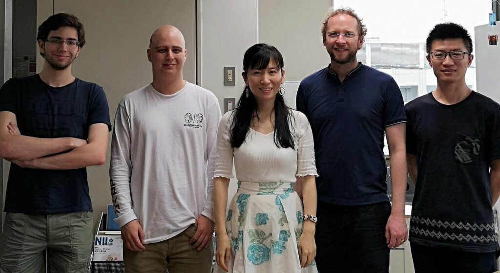 Prof. Yi Yu (middle) from the NII with her group and Joeran Beel