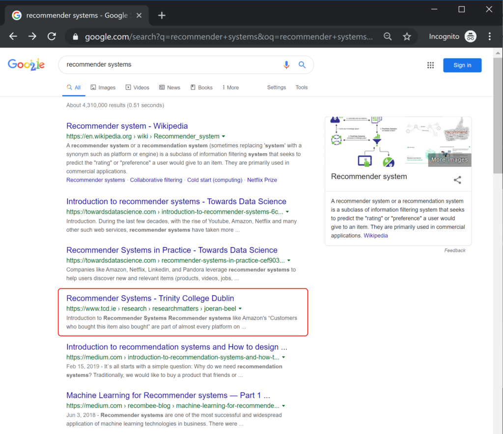 """Google Ranking for the search term """"Recommender Systems"""""""
