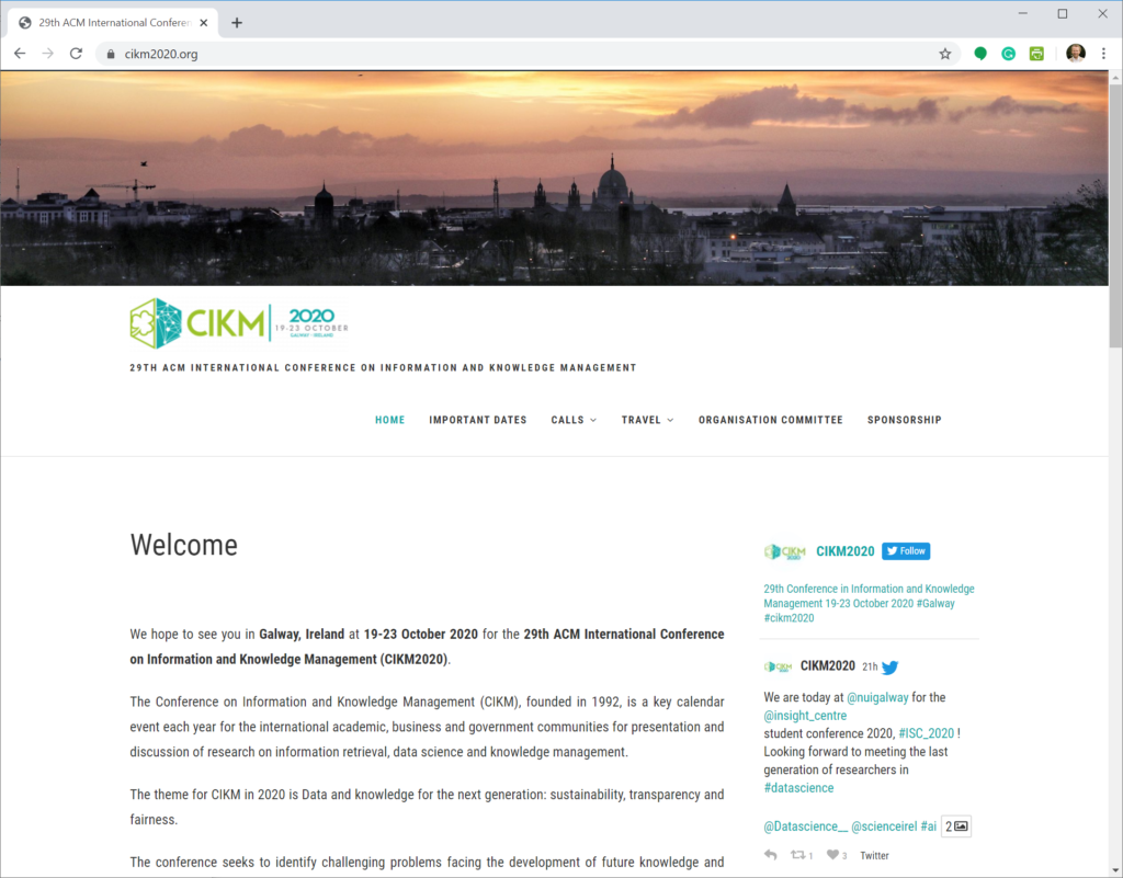 CIKM Website 2020 (Information Retrieval, Recommender Systems, Machine Learning)