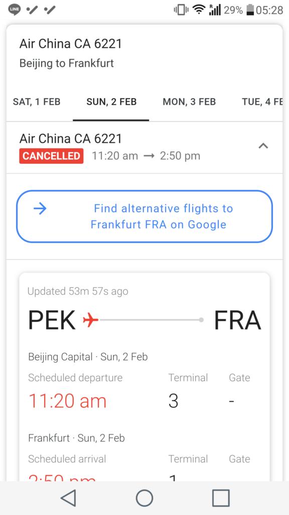 Opodo Review, Flight Cancelled Google Screenshot